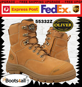 Oliver-At-039-s-Men-039-s-Work-Safety-Boots-Wheat-Steel-Toe-Lace-Up-ZIP-AU-Size-55332Z