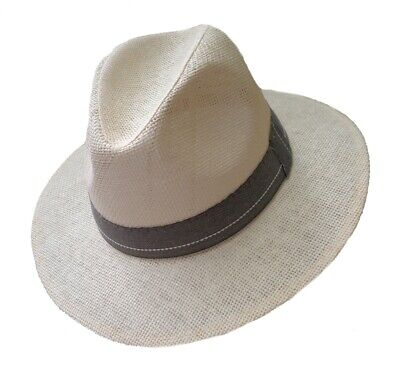 Cappello Uomo di Paglia Viaggiatore Protezione Dal Sole Dritto Krempe Vacanza