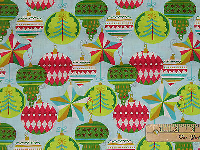 All Is Bright Ornament Adorn White Christmas Fabric by the 1//2 Yd #101.132.02.2