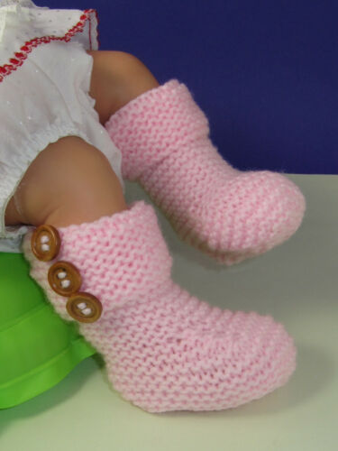 Impreso instructions-easy Bebé 3 botón Garter Stitch Botines Tejer patrón