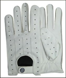 super cute super popular how to buy Details about REAL LEATHER MEN'S NAPPA FASHION UNLINED DRIVING GLOVES WHITE