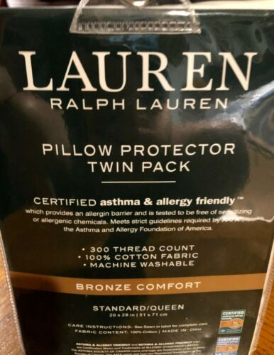RALPH LAUREN 2 Std//Qn Bronze Comfort Pillow Protectors Asthma Allergy Friendly