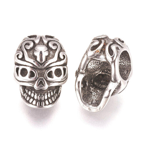 10pcs 304 Stainless Steel European Large Hole Beads Skull Dangle Charms 12x8.5mm