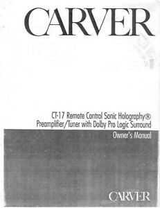Carver ct 17 tuner owners manual ebay image is loading carver ct 17 tuner owners manual publicscrutiny Choice Image