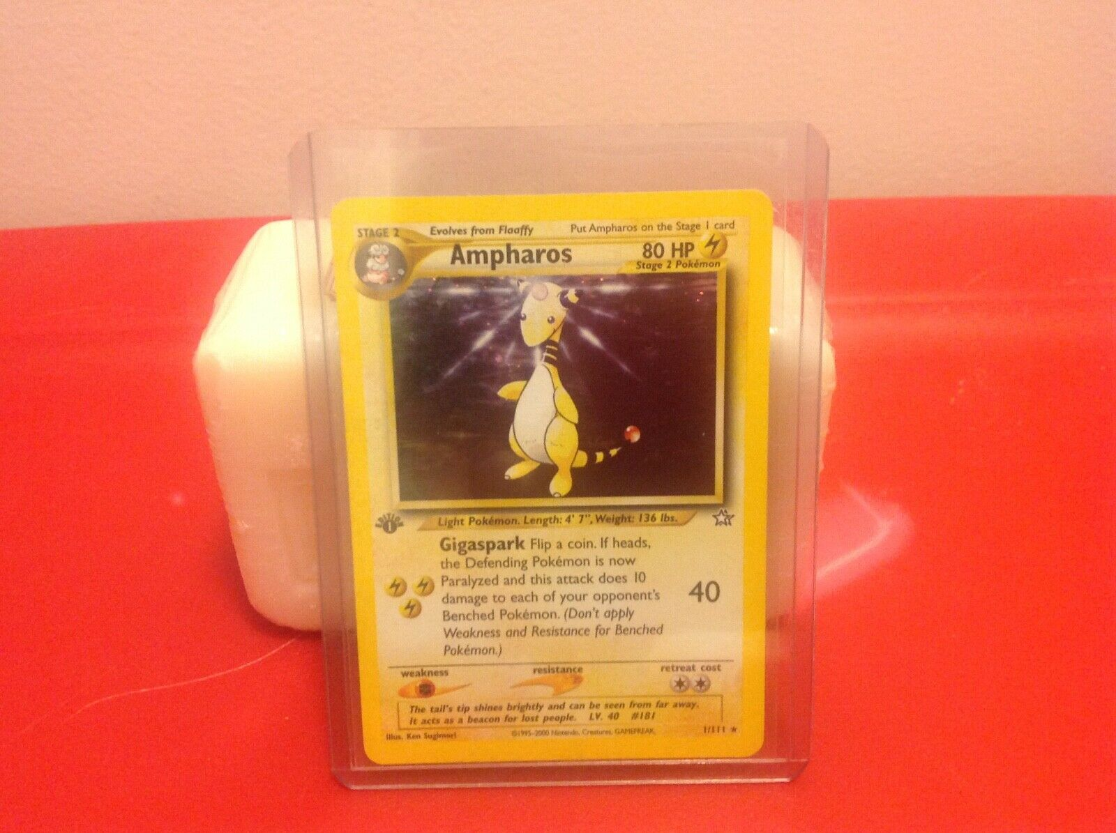 1995 Ampharos Holo Pokemon Card 1st Edition-1 111 (Mint Condition)