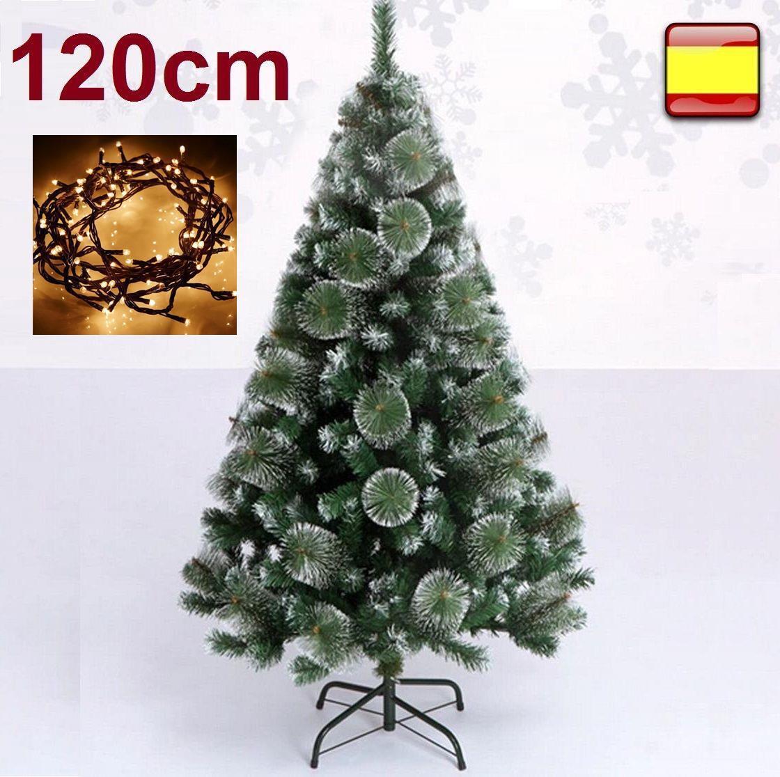 Arbol de navidad 1,20 m 120 cm Pino verde nieve + luz...