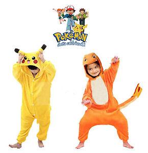 Image is loading New-Kid-Pyjamas-Kigurumi-Cosplay-Pikachu-Costume-Boy-  sc 1 st  eBay & New Kid Pyjamas Kigurumi Cosplay Pikachu Costume Boy Girl Hooded ...