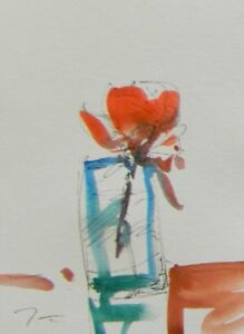 JOSE-TRUJILLO-ORIGINAL-Watercolor-Painting-Modern-Art-6x8-Still-Life-Flower-COA