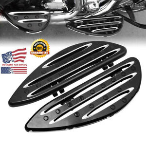 Front-CNC-Black-Edge-Cut-Driver-Stretched-Floorboards-For-Harley-Touring-USA-JH