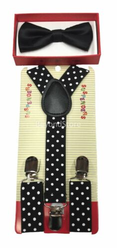 Children Kids Boys Girls Suspender /& Bowtie Matching Colors Set NEW