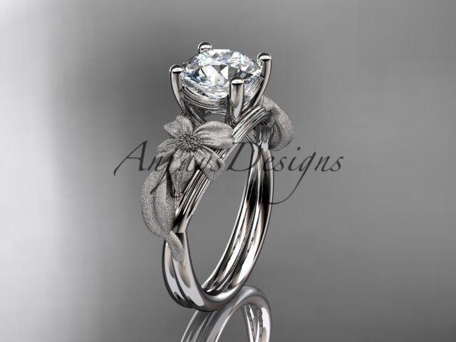 14kt white gold engagement ring  Forever One  Moissanite