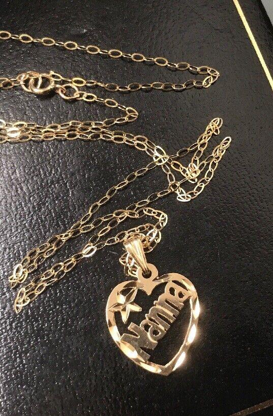 Vintage 9ct' NANNA' PENDANT & 9ct gold 18  Chain Hallmarked Size 15mm x 14mm