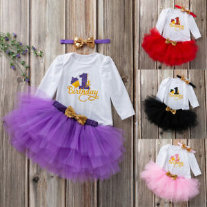 74c6275b89232 Details about 2pc Toddler Newborn Baby Girls 1st Birthday Romper+Tutu Dress  Outfit Set Clothes