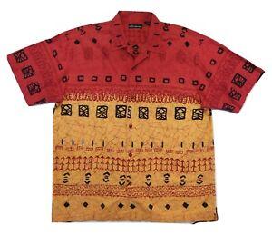 No-Boundaries-Shirt-XL-Hawaiian-Polynesian-Tiki-Button-Front-Short-Sleeve-Cotton