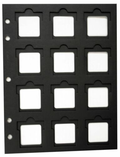 2 Coin Holder Slotted Paper 12 Pocket Page Black 2x2 Flip BCW Thumb Cut Storage