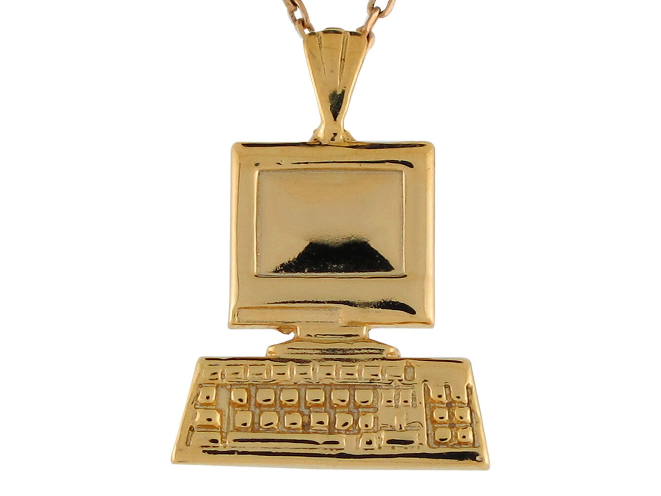 14k Yellow gold Cute Trendy Adorable Computer and Keyboard High Polish Pendant