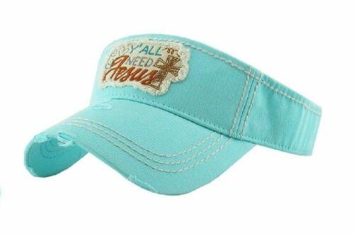 Adjustable Yall Need Jesus Cross Vintage Visor Hat Cap Tan Beige Blue Black Pink