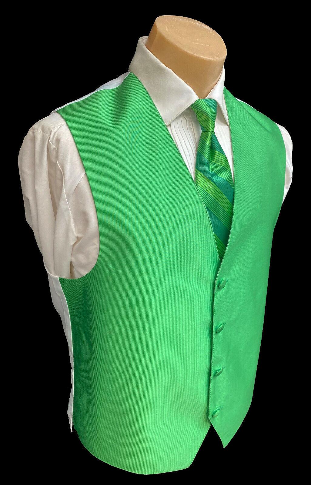 Men's Green Tuxedo Vest & Tie Fullback Cruise Wedding Party Groom Prom XL-Tall