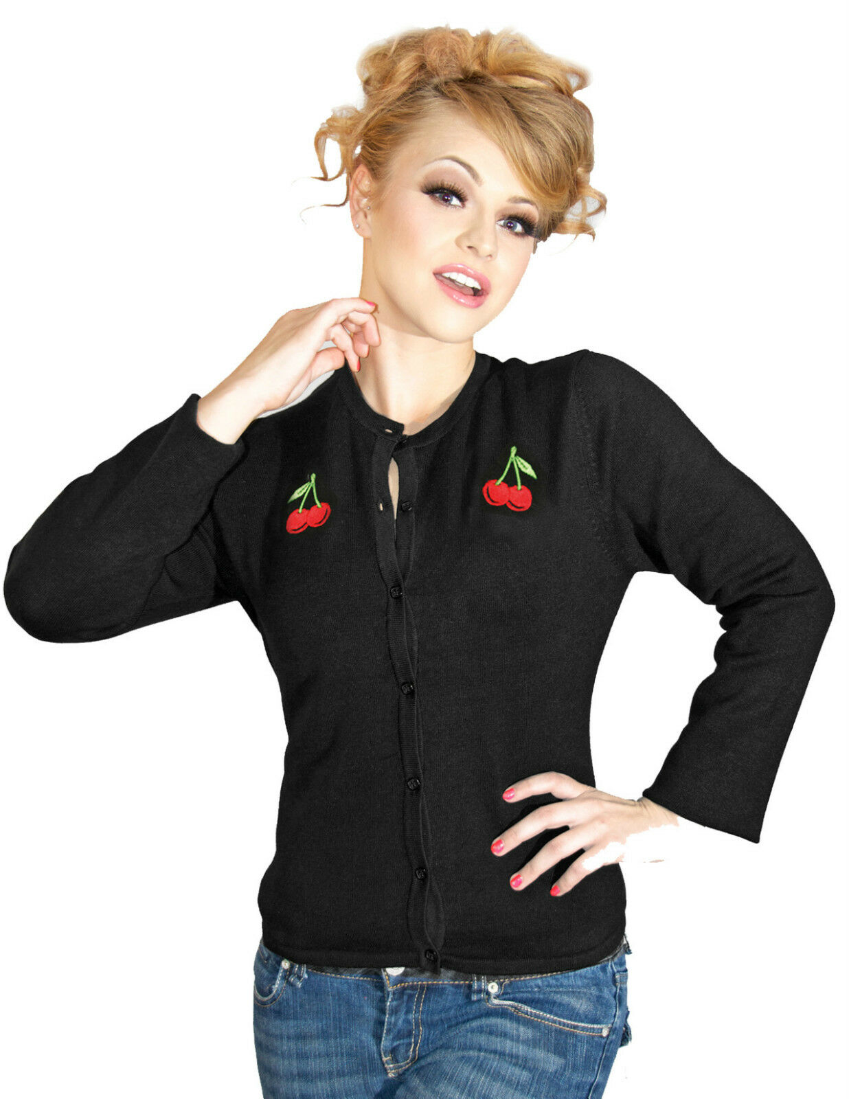 Cherry Cardigan-Rockabilly 8 14 PIN UP UP UP Retro Vintage 1950s Steady Clothing da0c0f