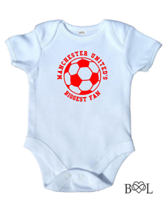 Football Team Biggest Fan Babygrow Vest Baby Boy Girl Gift Manchester Utd United