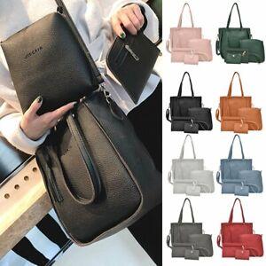 4pcs-Women-Leather-Handbag-Lady-Shoulder-Bags-Tote-Purse-Messenger-Satchel-Lot