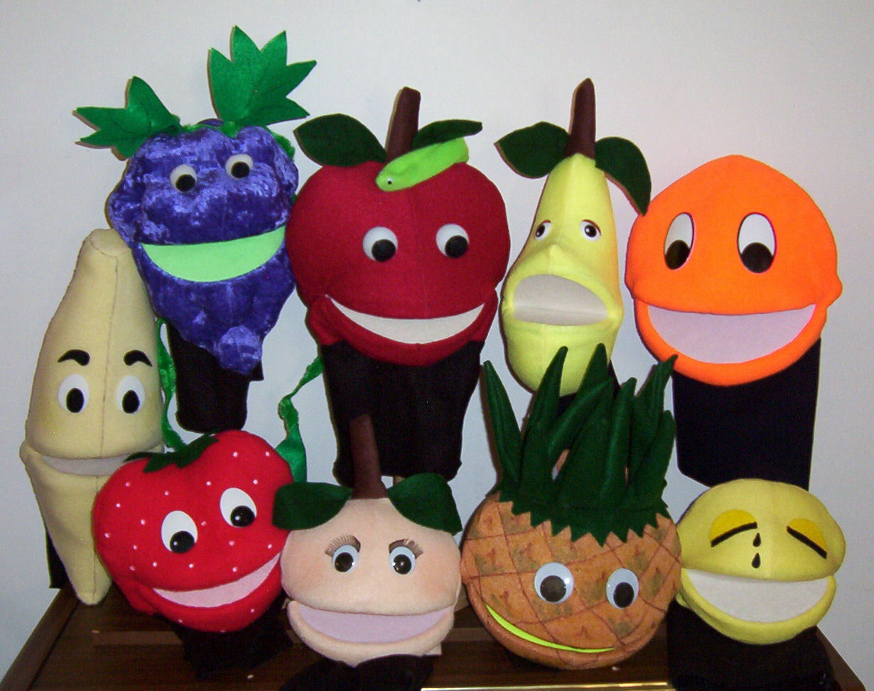 9 Fruit Ventriloquist Puppets w/Fruit of the Spirit Dialogues-VBS ministry-NEW