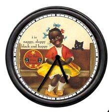 Tar Baby Pomade Barber Shop Stylist Nappy Hair Black Americana Sign Wall Clock