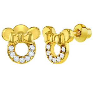 18k-Gold-Plated-Clear-CZ-Mouse-Bow-Safety-Screw-Back-Kids-Earrings-Girls