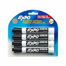Expo 80661 Low Odor Dry Erase Markers Chisel Tip Black 4 Count