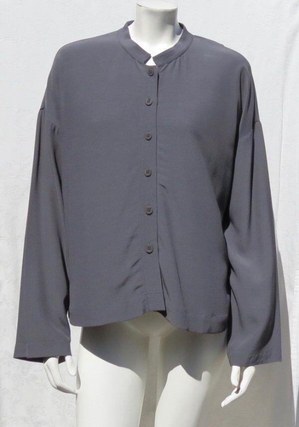 EILEEN FISHER Bark Tencel Viscose Crepe Mandarin Collar Boxy Shirt Top sz L