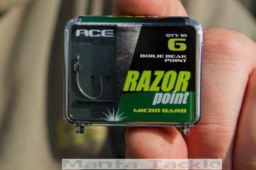 NEW Ace Razor Point Micro Barb Barbless Carp Hooks Size 4 5 6 7 8 10