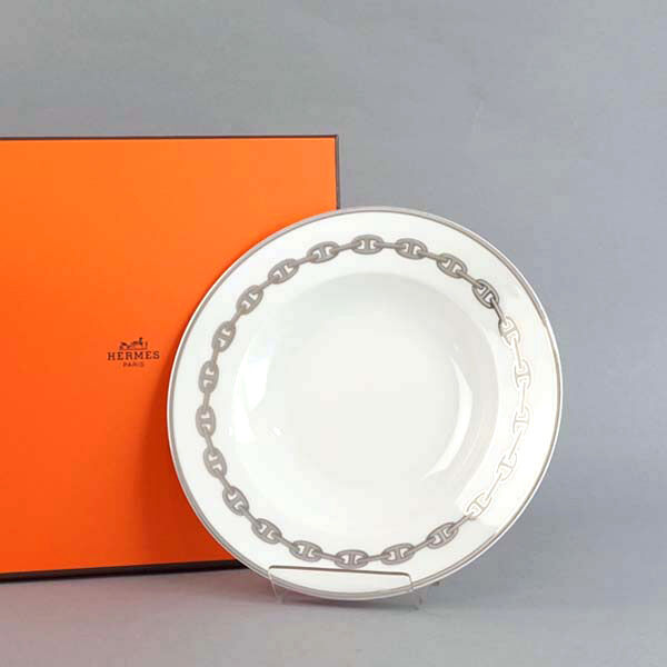 HERMES Porcelain Soup Plate Dish Tableware Saucer Ornament Chaine D'Ancre Auth