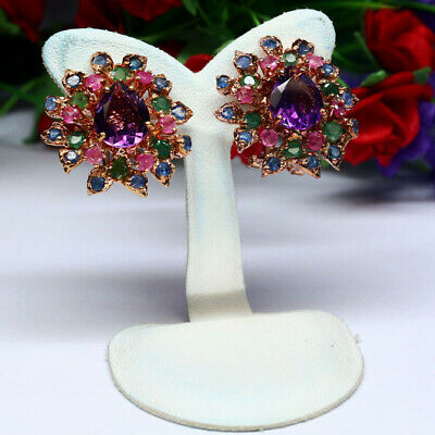 Amethyst and Indian Ruby 925 Sterling Silver Earrings Jewelry SDE10117