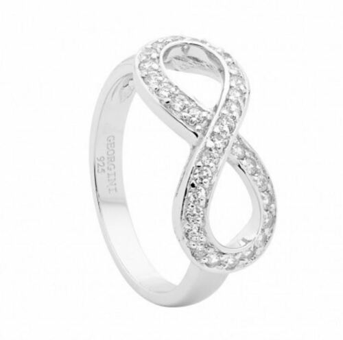 Georgini R230W6 Sterling Silver Rhodium Plated White CZ Infinity Ring RRP$109