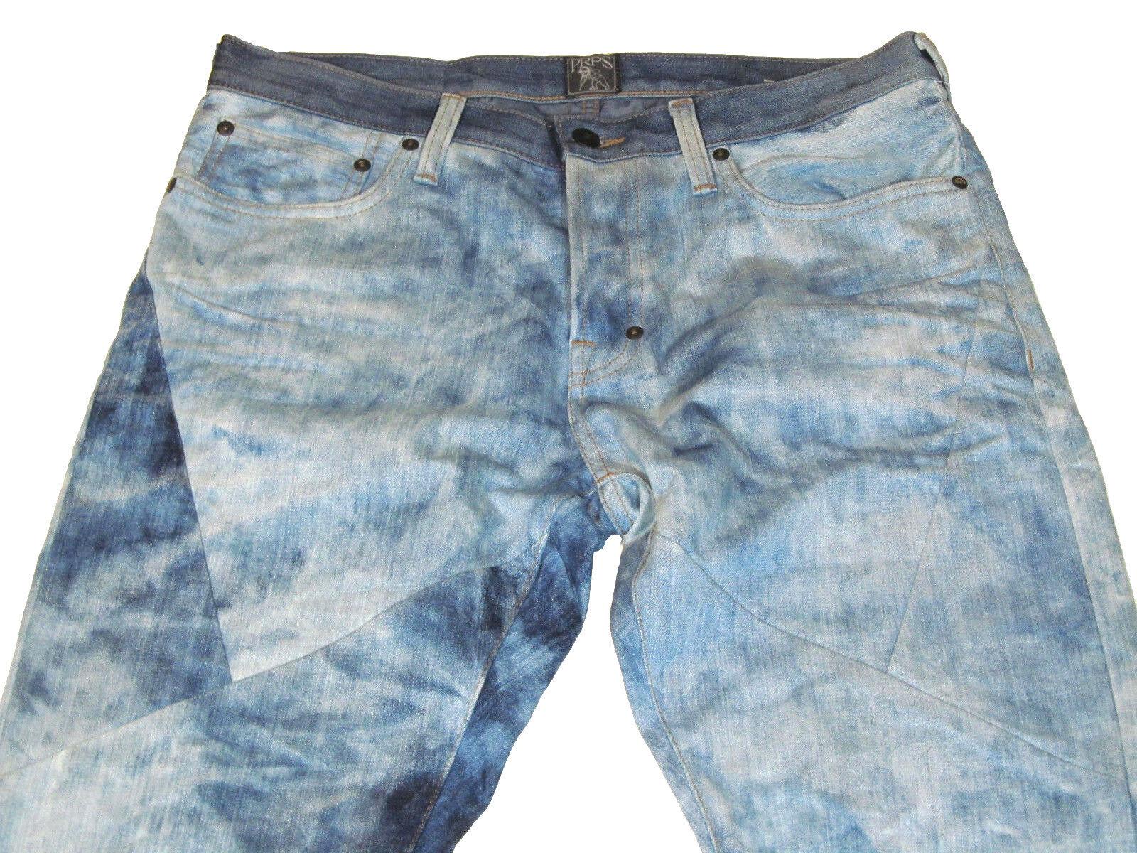 NWT PRPS Goods Mens 32Wx34L Demon Indigo Patched bluee White Jeans E77P112P