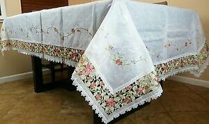 72x144-034-Broderie-Organza-Polyester-nappe-12-serviettes-Mariage-Banquet-Fete