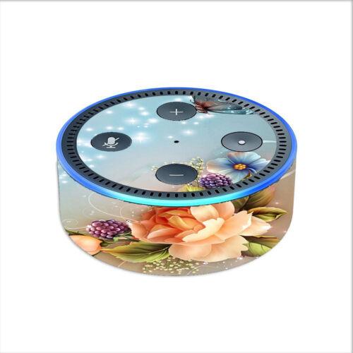 2nd gen Skin Decal  for Amazon Echo Dot // Sparkle Butterfly Flowers