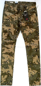 NEU-Levis-Premium-Lo-Ball-Stack-Distressed-Camo-Jeans-Herren-Groesse-34-Camouflage