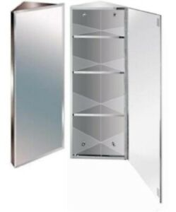 Stylish 900mm Stainless Steel Mirror Bathroom Corner Cabinet Ebay