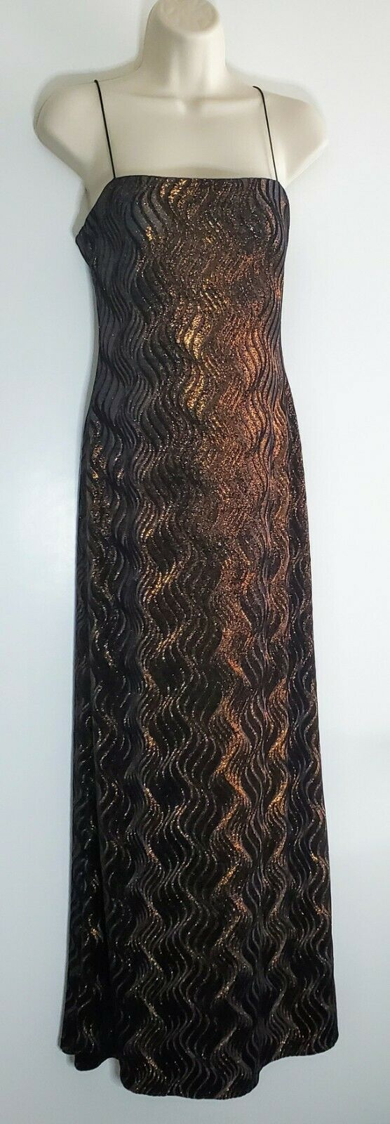 JS Boutique Evening Dress Formal Gown Gold Spangled on Black Spaghetti Straps