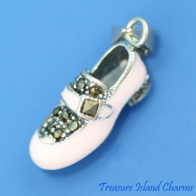 PINK ENAMEL and MARCASITE BABY GIRL SHOE 3D .925 Solid Sterling Silver Pendant