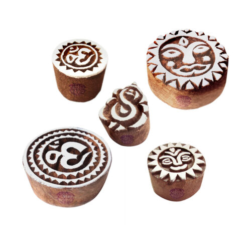 Indian DIY Wooden Printing Stamps for Paper Clay Fabric Pottery Block Printing