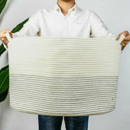 """Details about  /Indressme Xxxlarge Cotton Rope Basket 21.7/"""" X 21.7/"""" X 13.8/"""" Woven Baby Laundry B"""