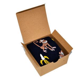 Image is loading Mens-Socks-in-Gift-Box-Monkey-Banana-Pattern-