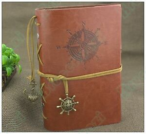 7*5 Handmade Vintage Retro Leather Notebook Travel Journal Diary Nautical Brown 601279963326