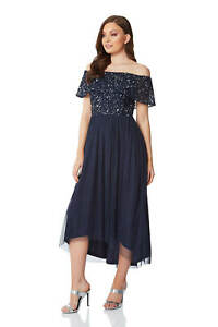 Roman Originals Women/'s Lace Sequin Sleeveless Skater Dress
