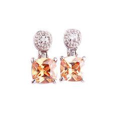 Morganite White Topaz New Fashion Gemstone AAA Women Silver Stud Hang Earrings