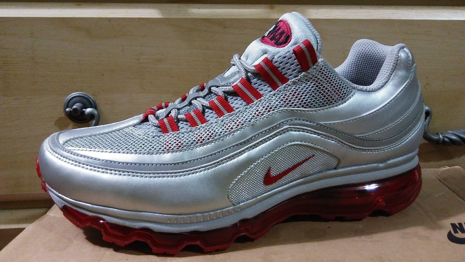 bb51059c0e New Mens Nike Air Max 24-7 Sz 8.5 Metallic Silver Varsity Red Grey Mesh