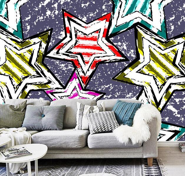 3D Five-Pointed Star 7 Wall Paper Murals Wall Print Wall Wallpaper Mural AU Kyra