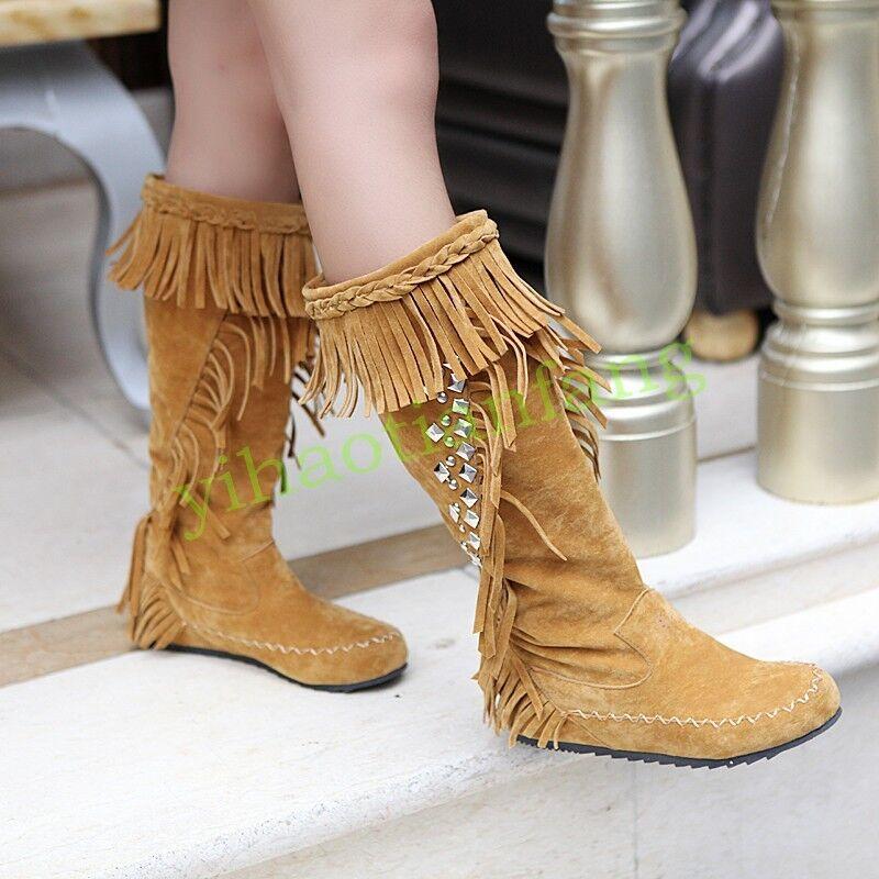 Femmes Bohème Strass Chaud Bottes hautes à Enfiler Pompons Vintage Chaussures Hot